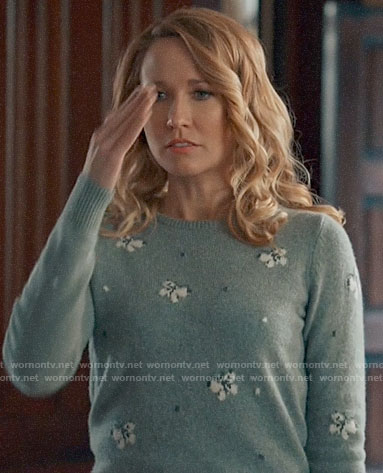 Ginny's grey butterfly print sweater on Perfect Harmony