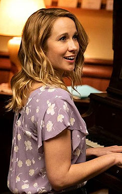 Ginny's purple floral top on Perfect Harmony