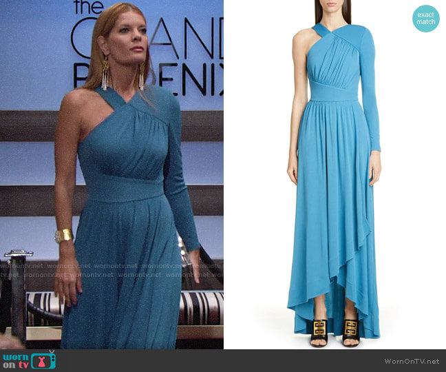 Givenchy Draped One-Shoulder Crepe Jersey Gown worn by Phyllis Summers (Michelle Stafford) on The Young & the Restless