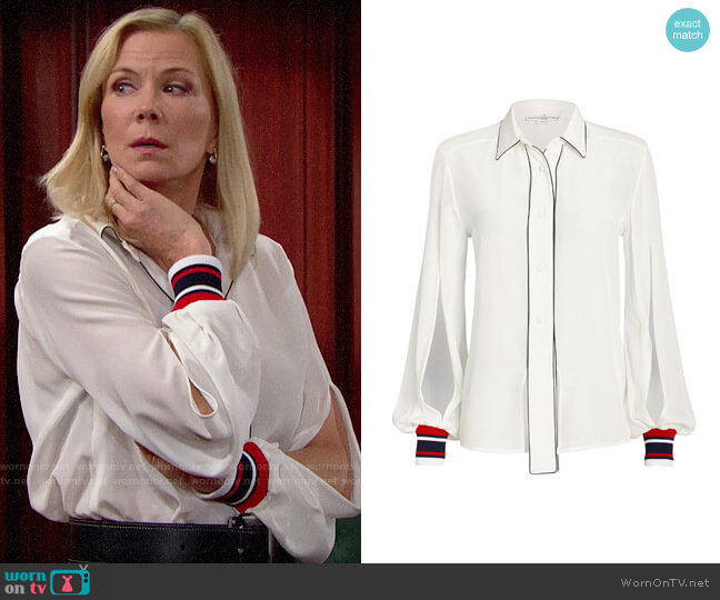 Golden Goose Isako Silk Button Front Blouse worn by Brooke Logan (Katherine Kelly Lang) on The Bold & the Beautiful