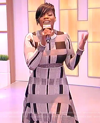 Fantasia Barrino's gray asymmetric dress on the Tamron Hall Show