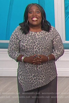 Sheryl's gray leopard asymmetric blouse on The Talk