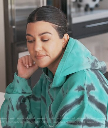 Kourtney's green dye hoodie on Keeping Up with the Kardashians