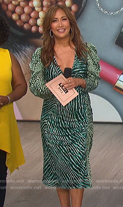 Carrie's green animal print dress on The Talk