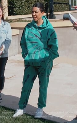 Kourtney's green dye print sweatshirt and pants on Keeping Up with the Kardashians