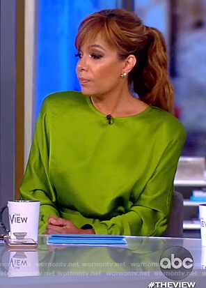 Sunny's green satin belted dress on The View