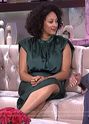 Tamera's green satin ruched dress on The Real
