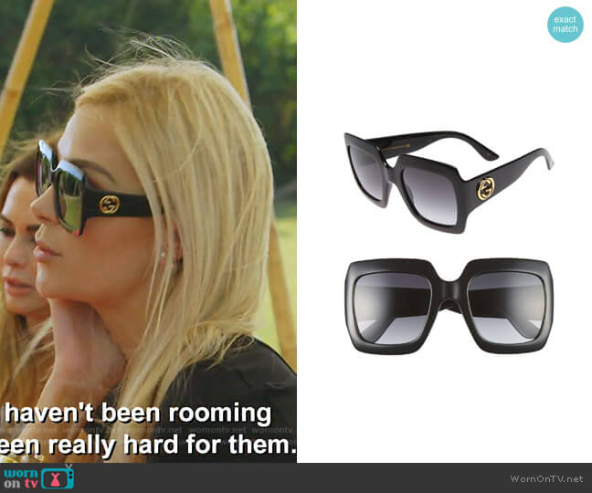 Square Sunglasses by Gucci worn by Kameron Westcott  on The Real Housewives of Dallas