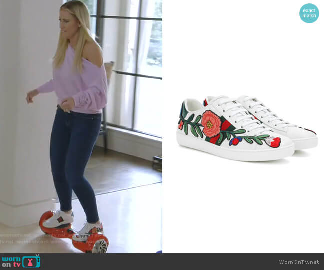 Ace Leather Sneakers by Gucci worn by Stephanie Hollman  on The Real Housewives of Dallas
