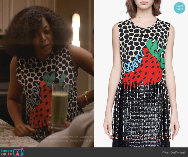 Fringe Tank with Gucci Strawberry Print by Gucci worn by Cookie Lyon (Taraji P. Henson) on Empire