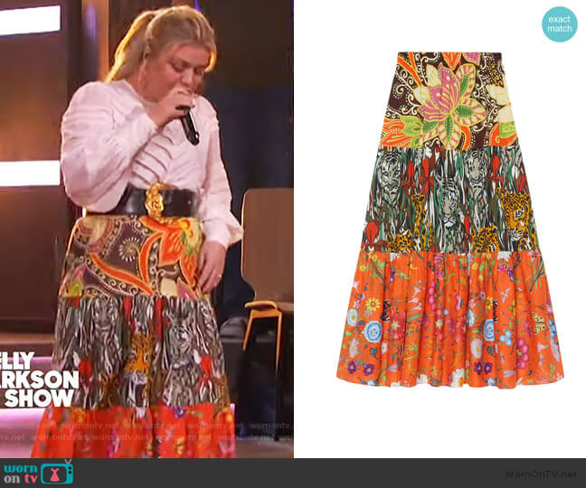 Patchwork print skirt by Gucci worn by Kelly Clarkson  on The Kelly Clarkson Show