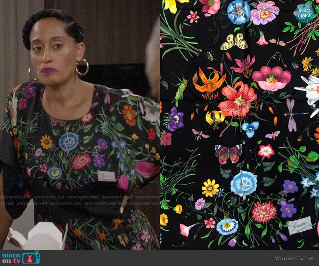 Gucci Flora Dress worn by Rainbow Johnson (Tracee Ellis Ross) on Blackish