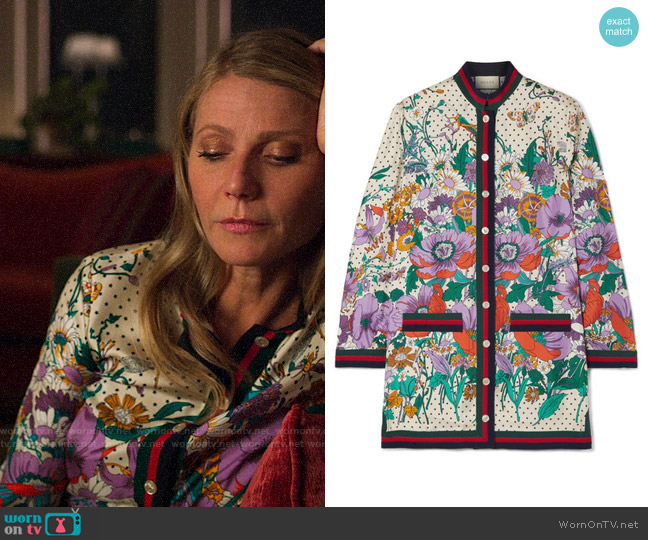 Gucci Grosgrain-trimmed printed silk-twill shirt  worn by Georgina Hobart (Gwyneth Paltrow) on The Politician