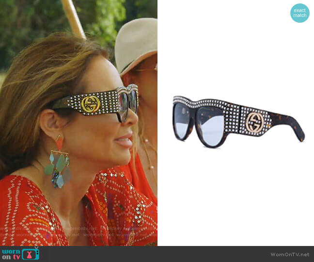 Oversized Tortoiseshell Embellished Glasses by Gucci worn by LeeAnne Locken  on The Real Housewives of Dallas