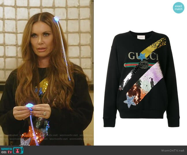 Sequinned Logo Sweatshirt by Gucci worn by LeeAnne Locken  on The Real Housewives of Dallas