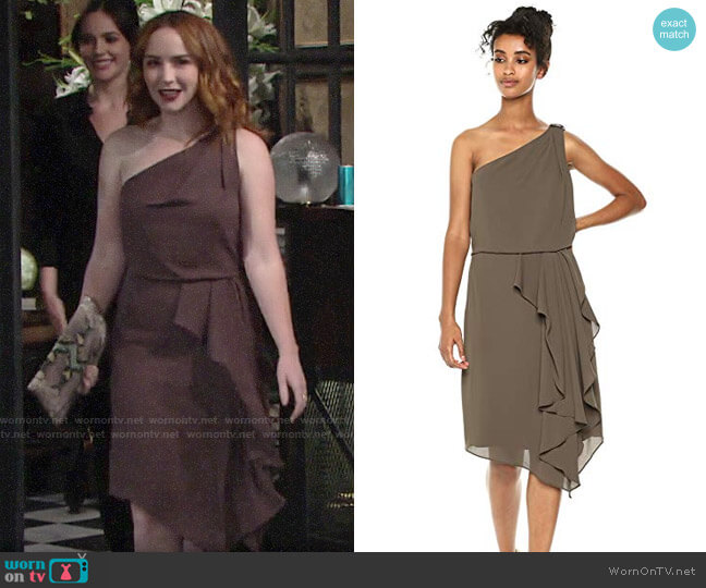 Halston Heritage One Shoulder Drape Detail Dress  worn by Mariah Copeland (Camryn Grimes) on The Young & the Restless