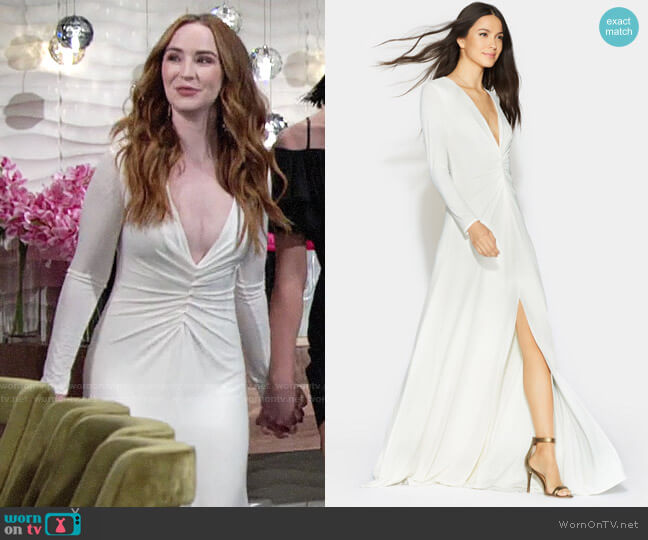 Halston Heritage Ruched Front Jersey Gown worn by Mariah Copeland (Camryn Grimes) on The Young & the Restless