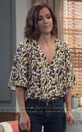 Hayden's abstract print v-neck top on General Hospital