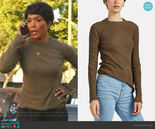 Rib-Knit Cotton Fitted Top by Helmut Lang worn by Athena Grant (Angela Bassett) on 9-1-1