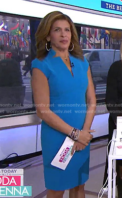 Hoda's blue v-neck dress on Today