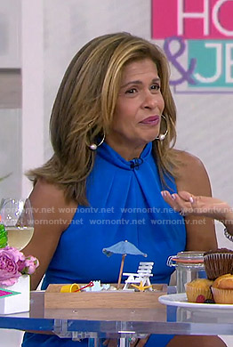 Hoda's blue twist neck dress on Today