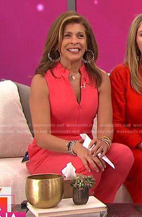 Hoda's pink zip-front jumpsuit on Today
