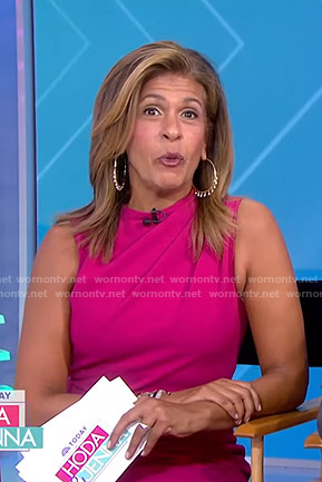 Hoda's pink gathered dress on Today