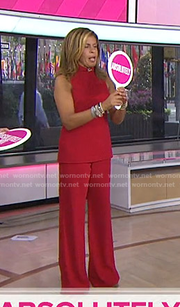 Hoda's red sleeveless top and pants on Today