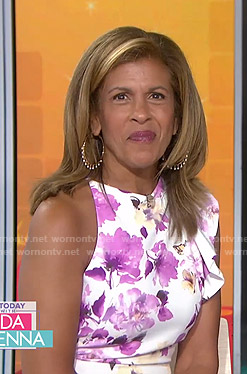 Hoda's white floral dress with ruffle shoulder on Today