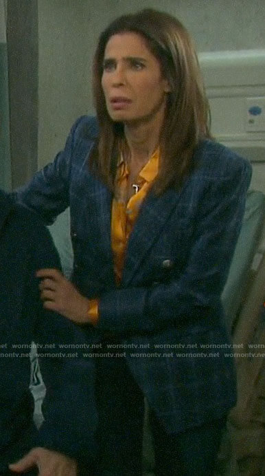 Hope's orange floral blouse and blue plaid blazer on Days of our Lives