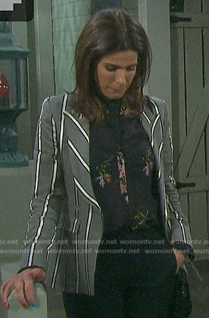 Hope's grey striped blazer and black floral blouse on Days of our Lives