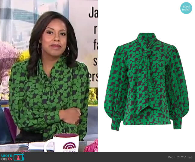 Finley Tie Neck Blouse by Hunter Bell worn by Sheinelle Jones  on Today