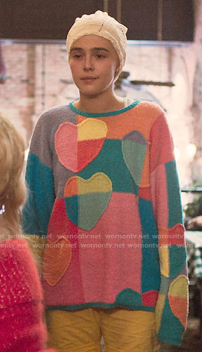 Inifinity's patchwork heart sweater on The Politician