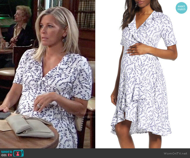 Isabella OliverLullah Ruffle Wrap Maternity Dress worn by Carly Corinthos (Laura Wright) on General Hospital