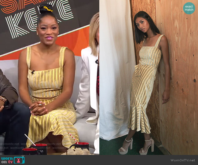 Italy Velvet Suede Crop and Assymetrical Skirt by Izayla worn by Keke Palmer  on Good Morning America