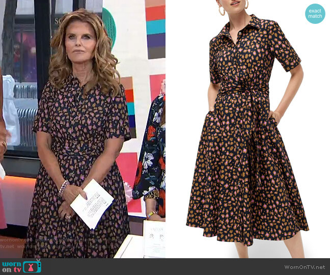 Leopard Tie Waist Short Sleeve Dress by J. Crew worn by Maria Shriver  on Today