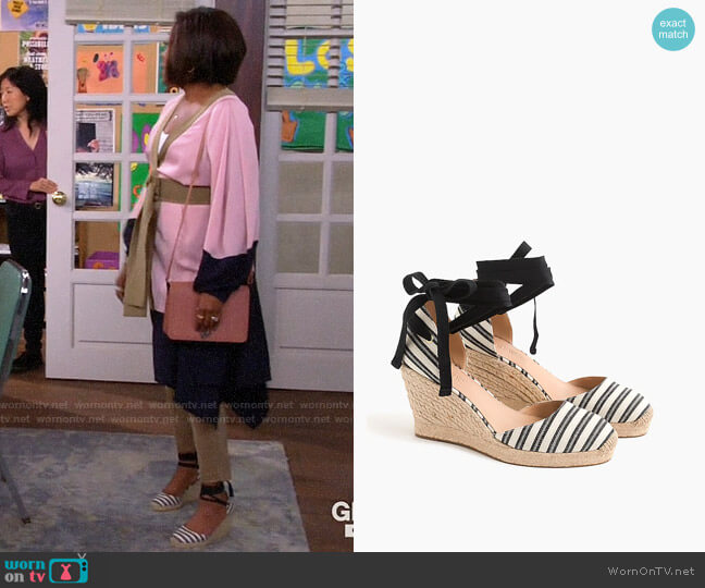 J. Crew Espadrille Wedges (83mm) with Ankle Wrap in Stripe worn by Tina (Tichina Arnold) on The Neighborhood