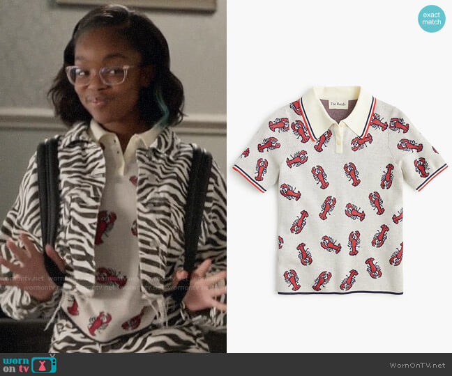 The Reeds X J.Crew Lobster Polo Sweater worn by Diane Johnson (Marsai Martin) on Blackish