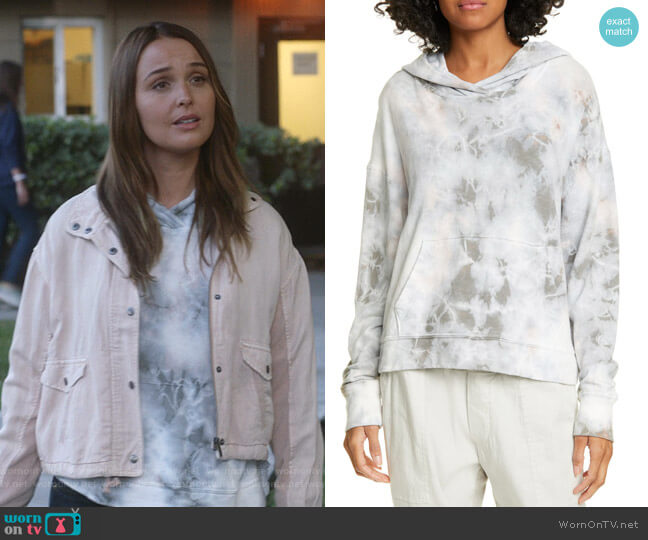 Tie Dye Crop Hoodie by James Perse worn by Jo Wilson (Camilla Luddington) on Greys Anatomy