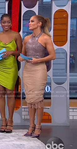 Jennifer Lopez's crocodile top and beige skirt on GMA Strahan Sara And Keke