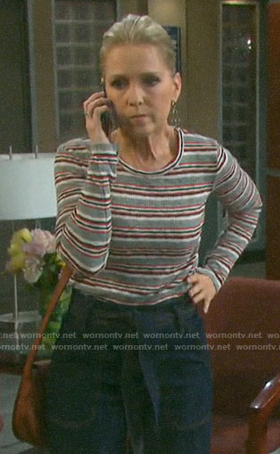 Jennifer's striped long sleeve top on Days of our Lives