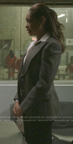 Jessica's grey blazer on Pearson