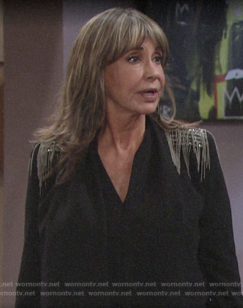 Jill's black jacket with chain embellished shoulders on The Young and the Restless