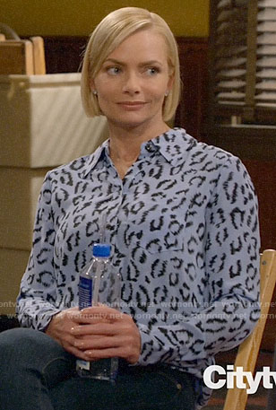 Jill's blue leopard print shirt on Mom