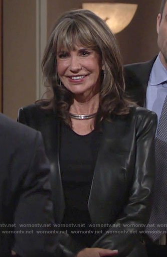 Jill's leather blazer on The Young and the Restless
