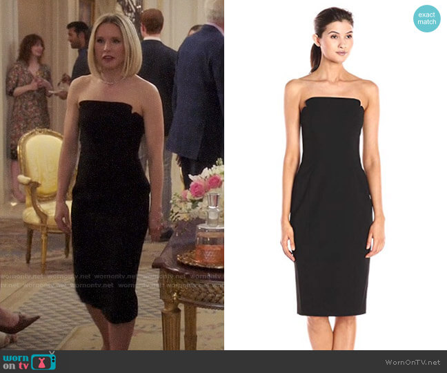 JILL Jill Stuart Strapless Column Midi Dress worn by Eleanor Shellstrop (Kristen Bell) on The Good Place