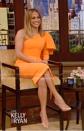 Jennifer Lopez's orange one-shoulder bow dress on Live with Kelly and Ryan