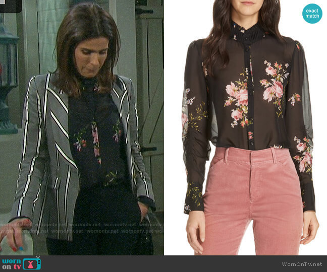 Joie Elzie Print Silk Blouse worn by Hope Williams (Kristian Alfonso) on Days of our Lives