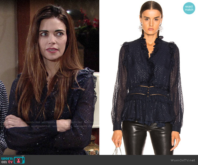Jonathan Simkhai Metallic Chiffon Blouse worn by Victoria Newman (Amelia Heinle) on The Young & the Restless