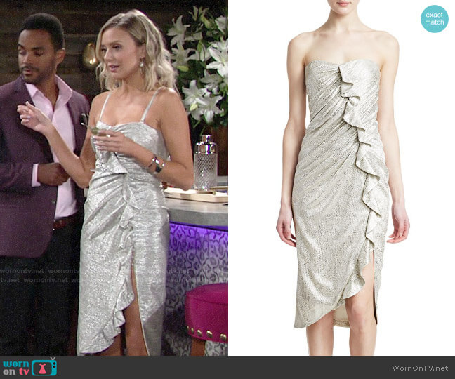 Jonathan Simkhai Plisse Lamé Ruffled Bustier Dress worn by Abby Newman (Melissa Ordway) on The Young & the Restless
